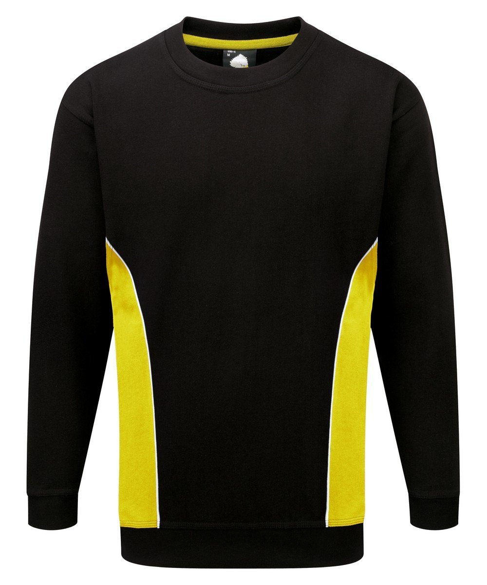 PPG Workwear Orn Silverstone Two Tone Premium Sweatshirt 1290 Black and Yellow Colour