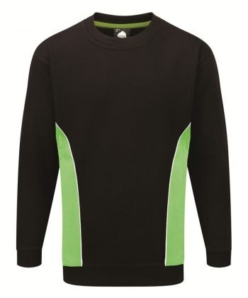 PPG Workwear Orn Silverstone Two Tone Premium Sweatshirt 1290 Black and Lime Colour
