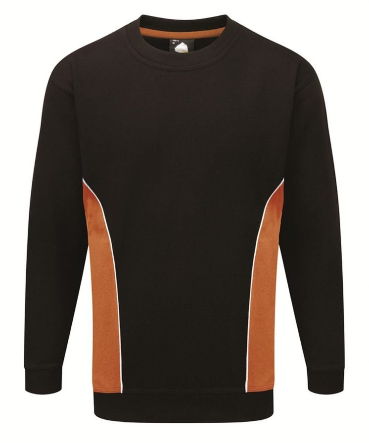PPG Workwear Orn Silverstone Two Tone Premium Sweatshirt 1290 Black and Orange Colour