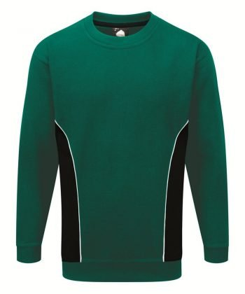 Orn Silverstone Two Tone Premium Sweatshirt 1290 Bottle Green and Black Colour