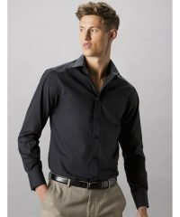 Kustom Kit Mens Tailored Fit Long Sleeve Business Shirt KK131 Black Colour