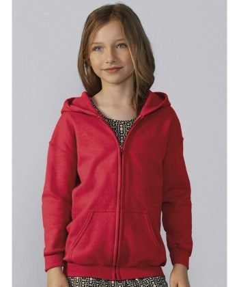 PPG Workwear Gildan Heavy Blend Youth Full Zip Hooded Sweatshirt 18600B Red Colour