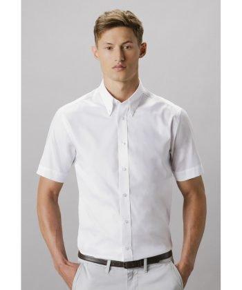 Kustom Kit Mens Tailored Fit Short Sleeve Premium Oxford Shirt KK187 White Colour