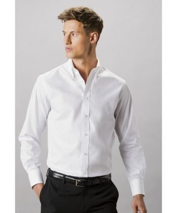 Kustom Kit Mens Tailored Fit Long Sleeve Premium Oxford Shirt KK188 White Colour