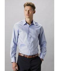 Kustom Kit Mens Contrast Premium Long Sleeve Shirt KK189 Light Blue Colour with Navy Blue Inner Collar