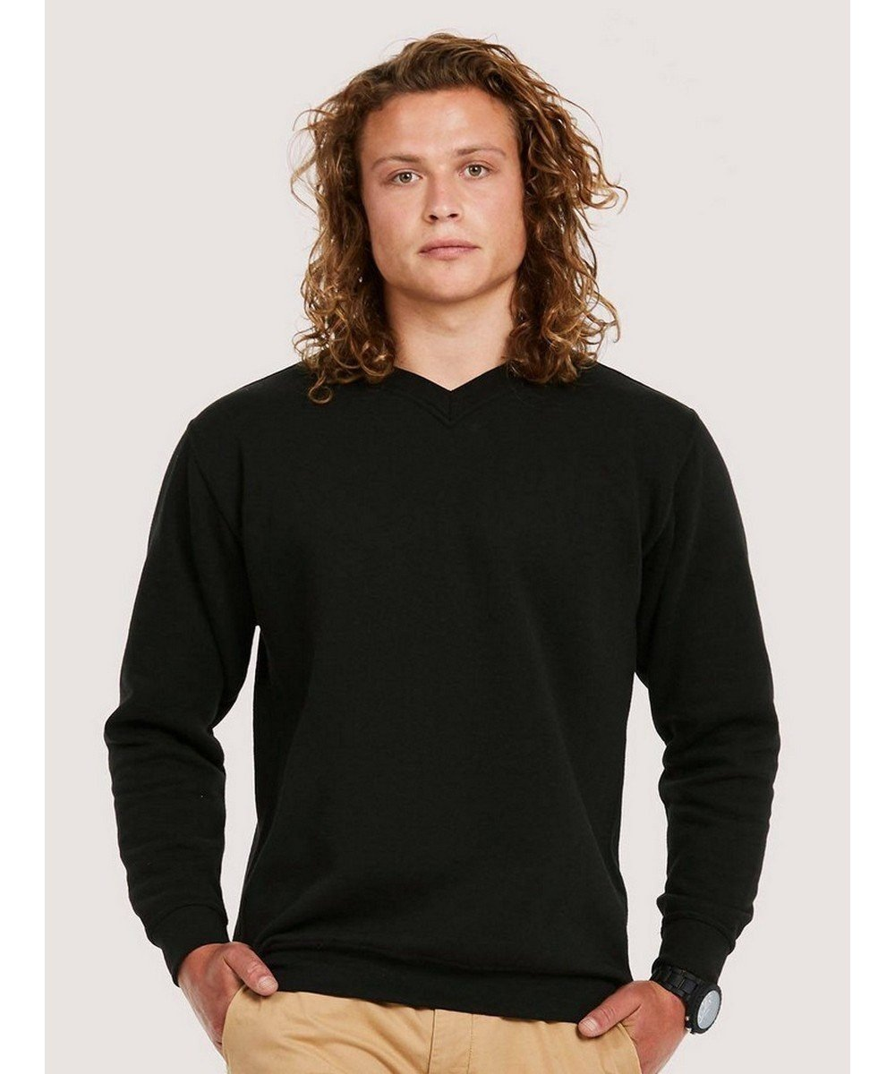 PPG Workwear Uneek Premium V-Neck Sweatshirt UC204 Black Colour