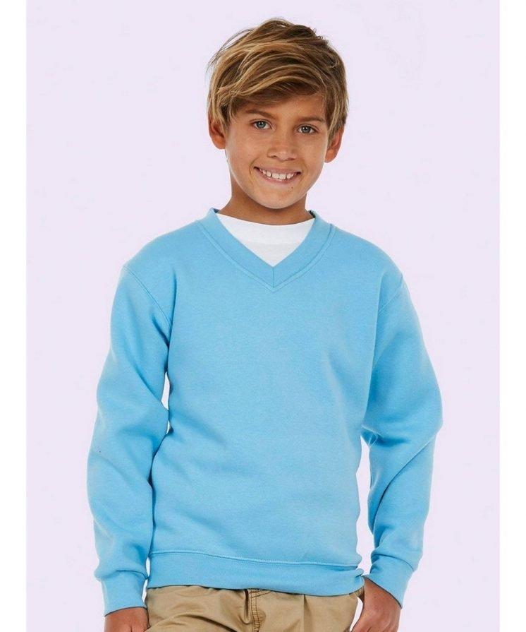 PPG Workwear Uneek Childrens V-Neck Sweatshirt UC206 Sky Blue Colour
