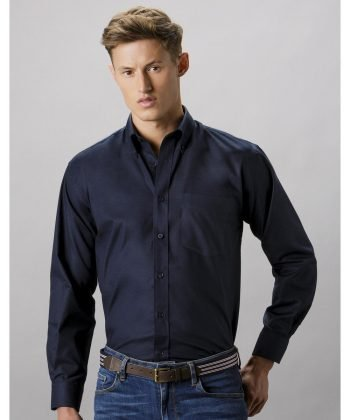 Kustom Kit Mens Workwear Long Sleeve Oxford Shirt KK351 French Navy Colour