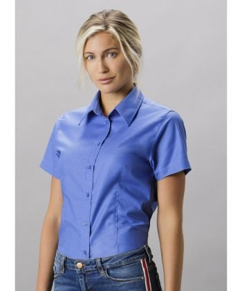 Kustom Kit Ladies Workwear Short Sleeve Oxford Shirt KK360 Italian Blue Colour