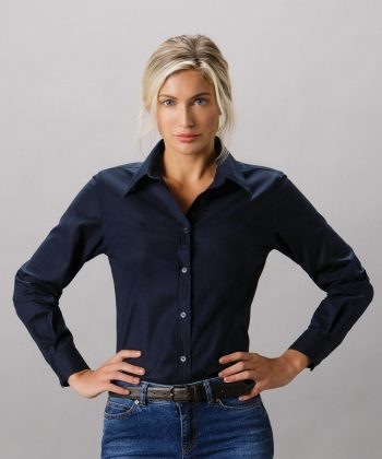 PPG Workwear Kustom Kit Ladies Workwear Long Sleeve Oxford Shirt KK361 Frech Navy Colour