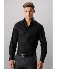 Kustom Kit Mens City Long Sleeve Business Shirt KK386 Black Colour