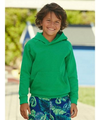 PPG Workwear Fruit Of The Loom Kids Lightweight Hooded Sweatshirt 62009 Kelly Green Colour