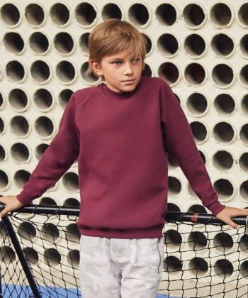 Fruit Of The Loom Kids Classic Raglan Sleeve Sweatshirt 62039 Burgundy Colour