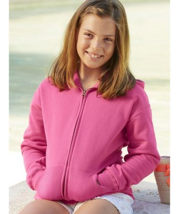 PPG Workwear Fruit Of The Loom Kids Classic Hooded Sweat Jacket 62045 Fuschia Colour