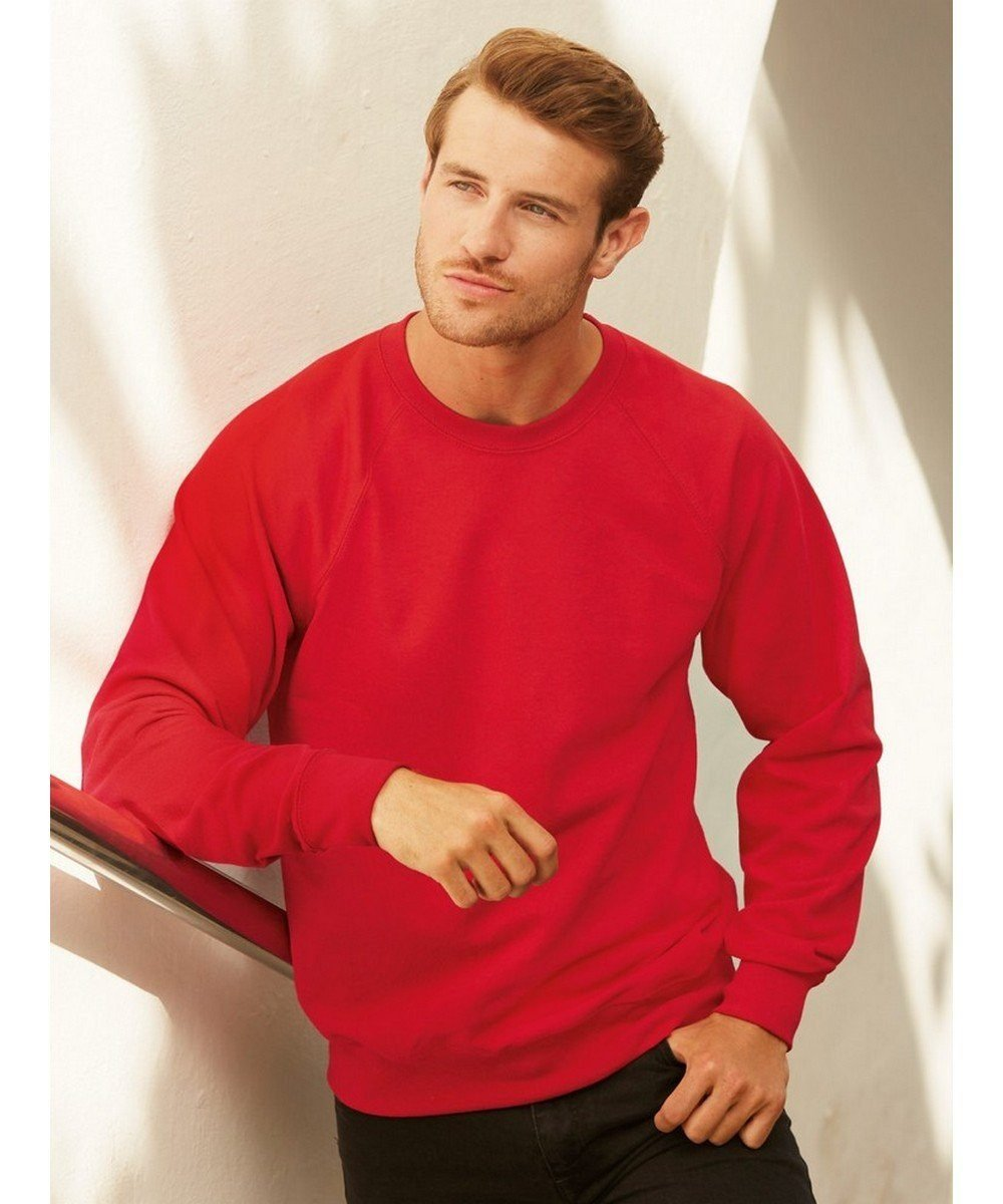 PPG Workwear Fruit Of The Loom Lightweight Raglan Sweatshirt 62138 Red Colour