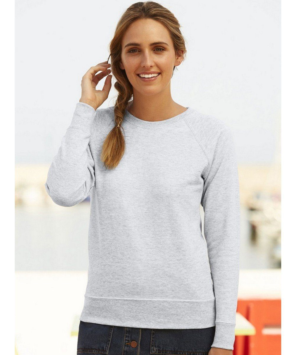 Fruit Of The Loom Lady-Fit Lightweight Raglan Sweatshirt 62146 Heather Grey Colour