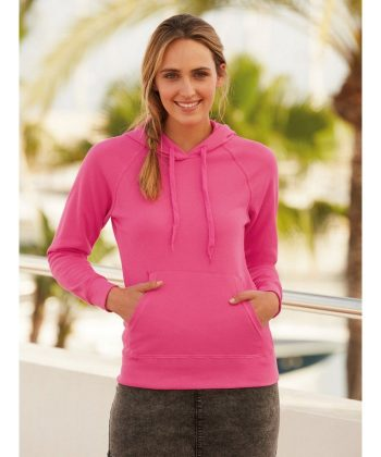 PPG Workwear Fruit Of The Loom Lady-Fit Lightweight Hooded Sweatshirt 62148 Fuchsia Colour