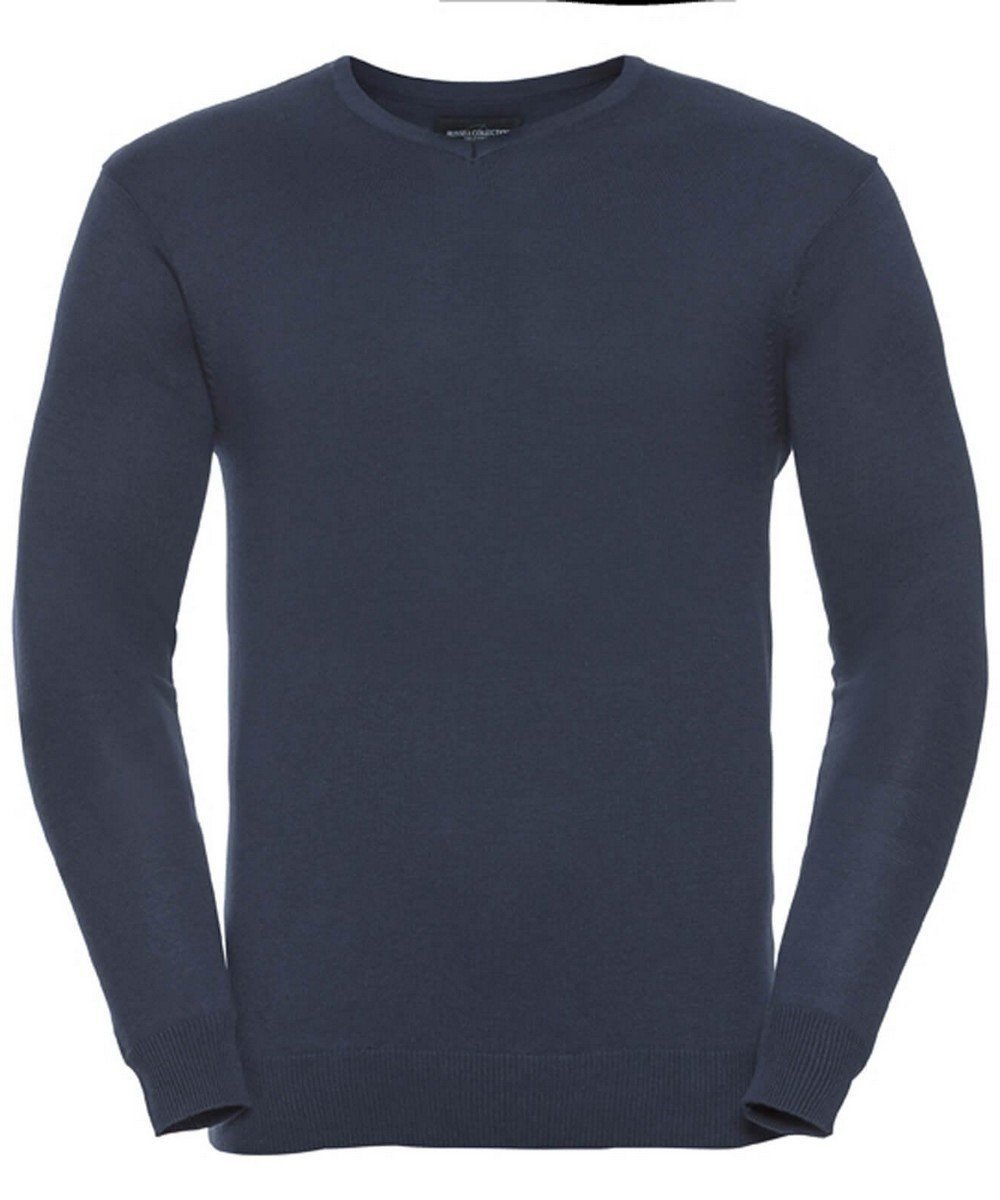 Russell Collection V-Neck Knitted Pullover 710M French Navy Colour