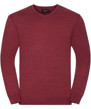 PPG Workwear Russell Collection V-Neck Knitted Pullover 710M Cranberry Marl Colour