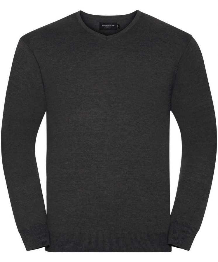 Russell Collection V-Neck Knitted Pullover 710M Charcoal Marl Colour