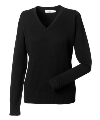PPG Workwear Russell Collection Ladies V-Neck Knitted Pullover 710F Black Colour