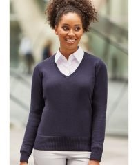 PPG Workwear Russell Collection Ladies V-Neck Knitted Pullover 710F Denim Marl Colour