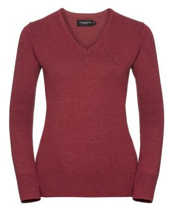 Russell Collection Ladies V-Neck Knitted Pullover 710F Cranberry Marl Colour