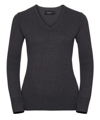 Russell Collection Ladies V-Neck Knitted Pullover 710F Charcoal Marl Colour
