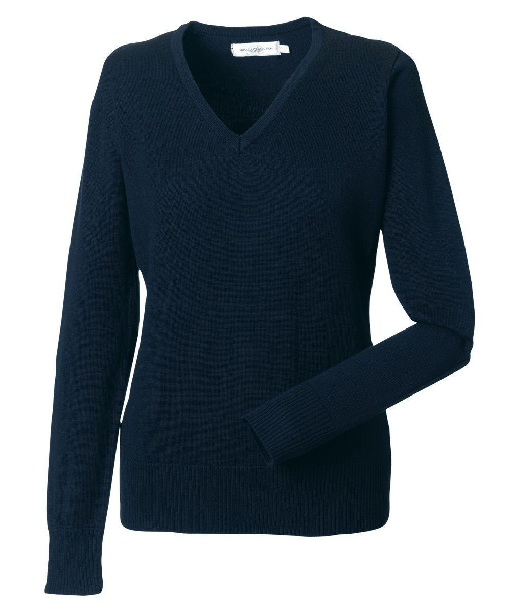 Russell Collection Ladies V-Neck Knitted Pullover 710F French Navy Colour