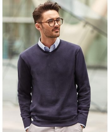 Russell Collection V-Neck Knitted Pullover 710M Denim Marl Colour