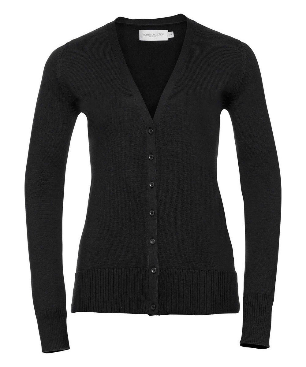 PPG Workwear Russell Collection Ladies V-Neck Knitted Cardigan 715F Black Colour