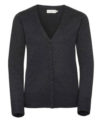 Russell Collection Ladies V-Neck Knitted Cardigan 715F Charcoal Marl Colour