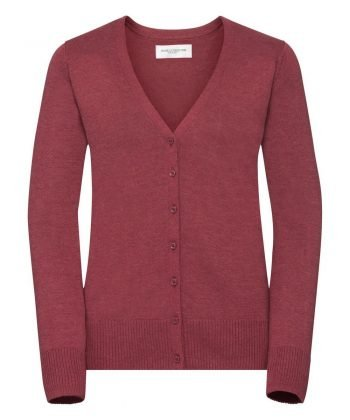 Russell Collection Ladies V-Neck Knitted Cardigan 715F Cranberry Marl Colour