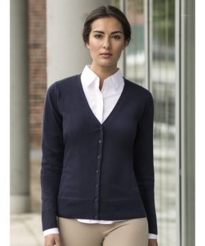 Russell Collection Ladies V-Neck Knitted Cardigan 715F French Navy Colour