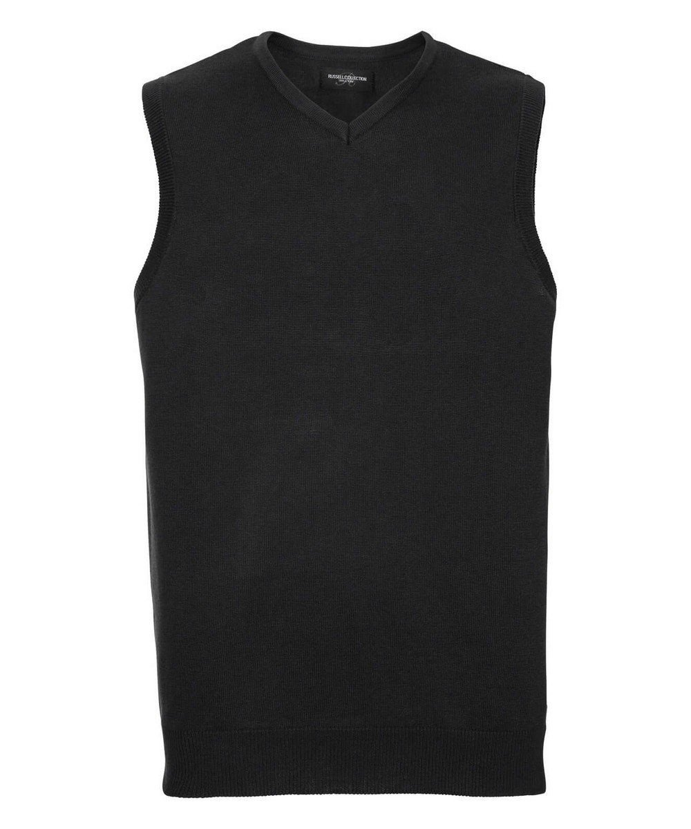 PPG Workwear Russell Collection V-Neck Sleeveless Knitted Pullover 716M Black Colour