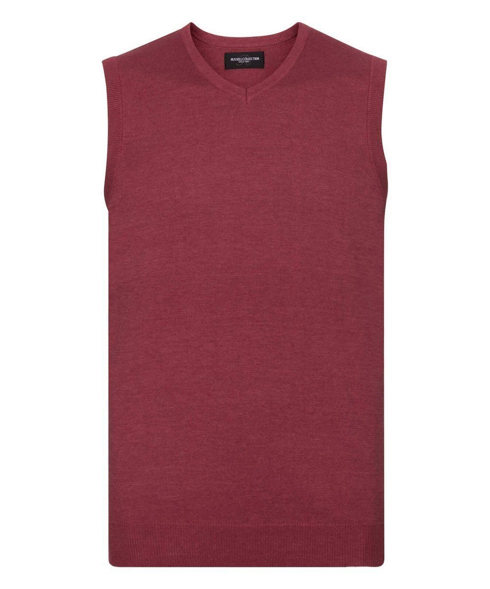 Russell Collection V-Neck Sleeveless Knitted Pullover 716M Cranberry Marl Colour