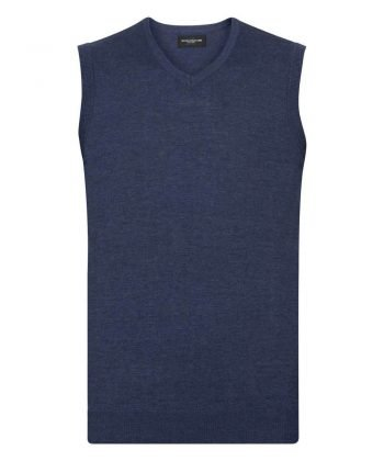 Russell Collection V-Neck Sleeveless Knitted Pullover 716M Denim Marl Colour