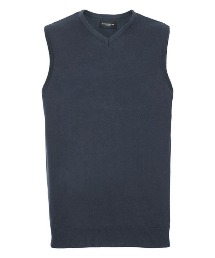 PPG Workwear Russell Collection V-Neck Sleeveless Knitted Pullover 716M French Navy Colour