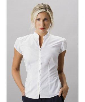 Kustom Kit Ladies Continental Mandarin Collar Cap Sleeve Blouse KK727 White Colour