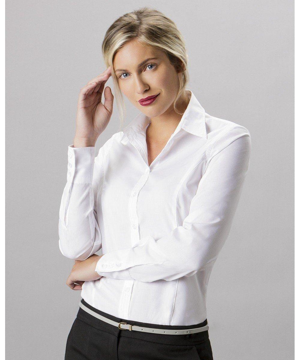 PPG Workwear Kustom Kit Ladies Long Sleeve Business Shirt KK743F White Colour
