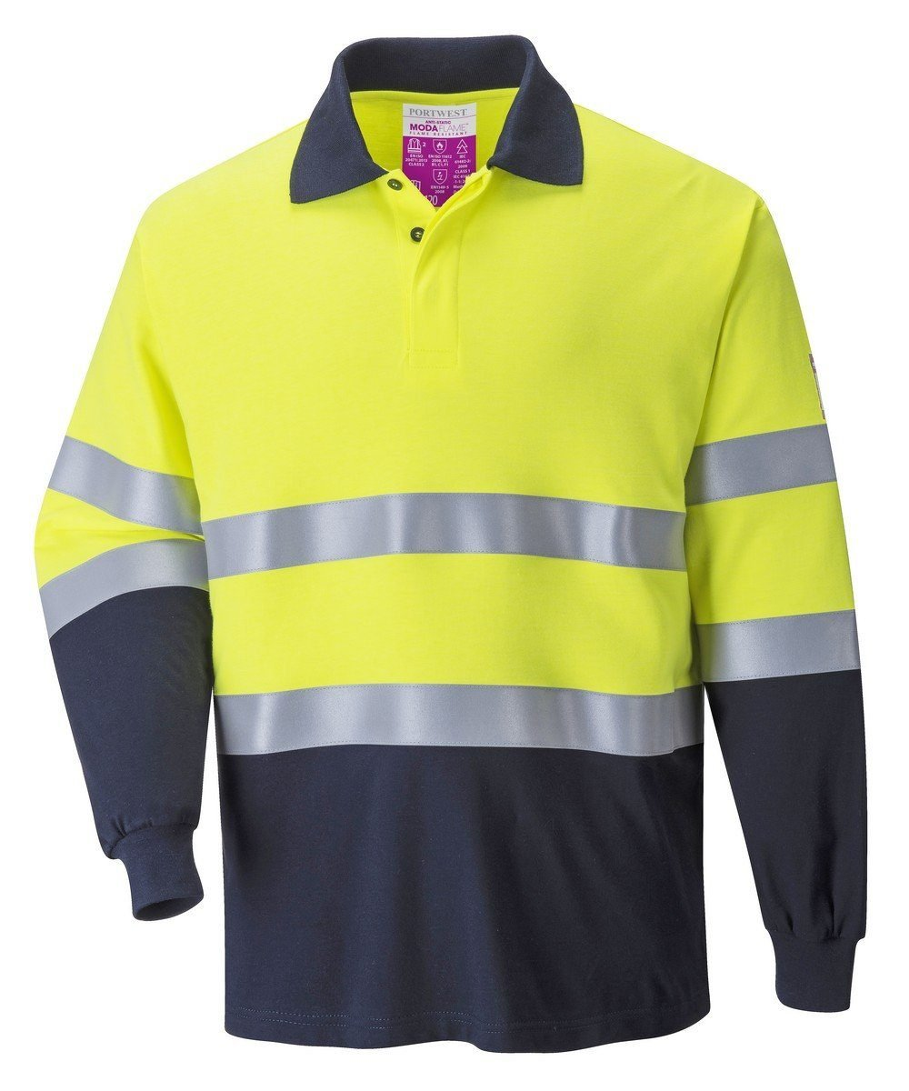 Portwest Flame Retardant Hi Vis Anti-Static Polo Shirt FR74 Yellow and Navy Blue Colour