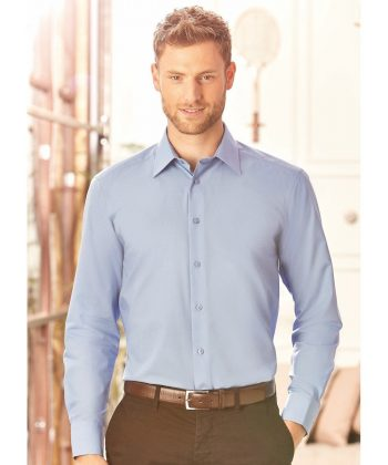 Russell Collection Mens Long Sleeve Tailored Poplin Shirt 924M Corporate Blue Colour