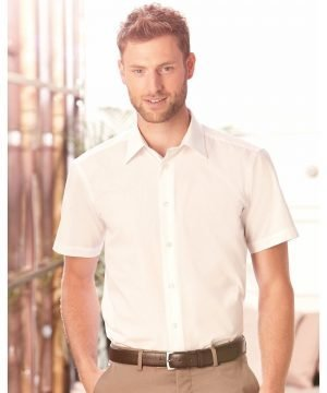 PPG Workwear Russell Collection Mens Short Sleeve Tailored Poplin Shirt 925M White Colour