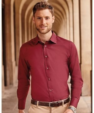 PPG Workwear Russell Collection Men's Long Sleeve Fitted Shirt 946M Port Colour