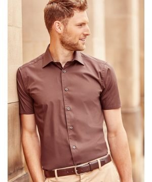 PPG Workwear Russell Collection Men's Short Sleeve Fitted Shirt 947M Chocolate Colour