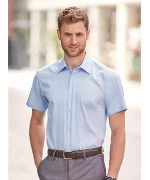 Russell Collection Short Sleeve Tailored Ultimate Non Iron Shirt 959M Bright Sky Colour