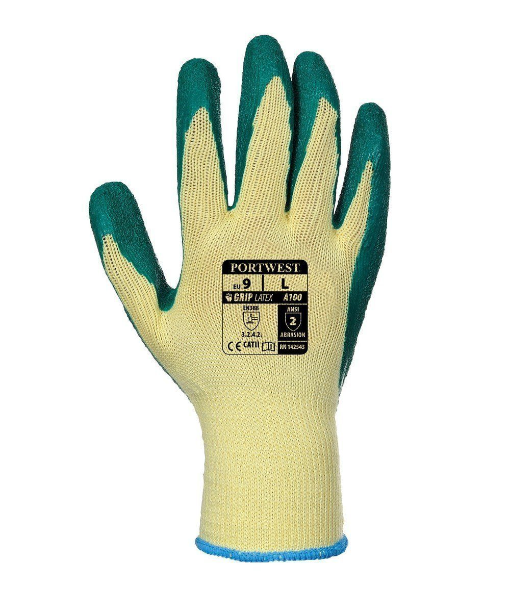 PPG Workwear Portwest Grip Glove A100 Green and Yellow Coloue Back View