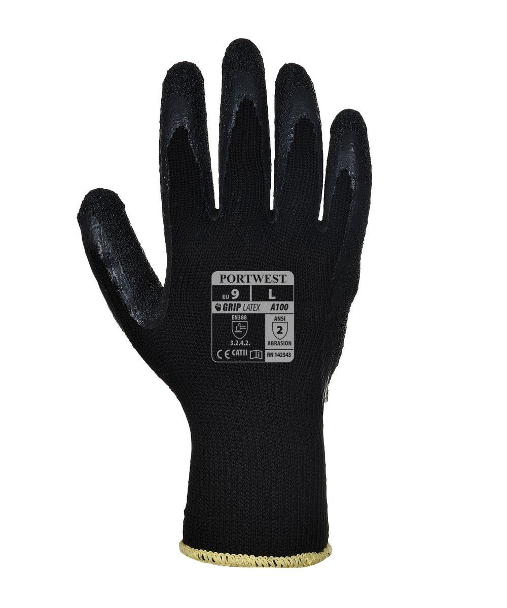PPG Workwear Portwest Grip Glove A100 Black Colour Back View