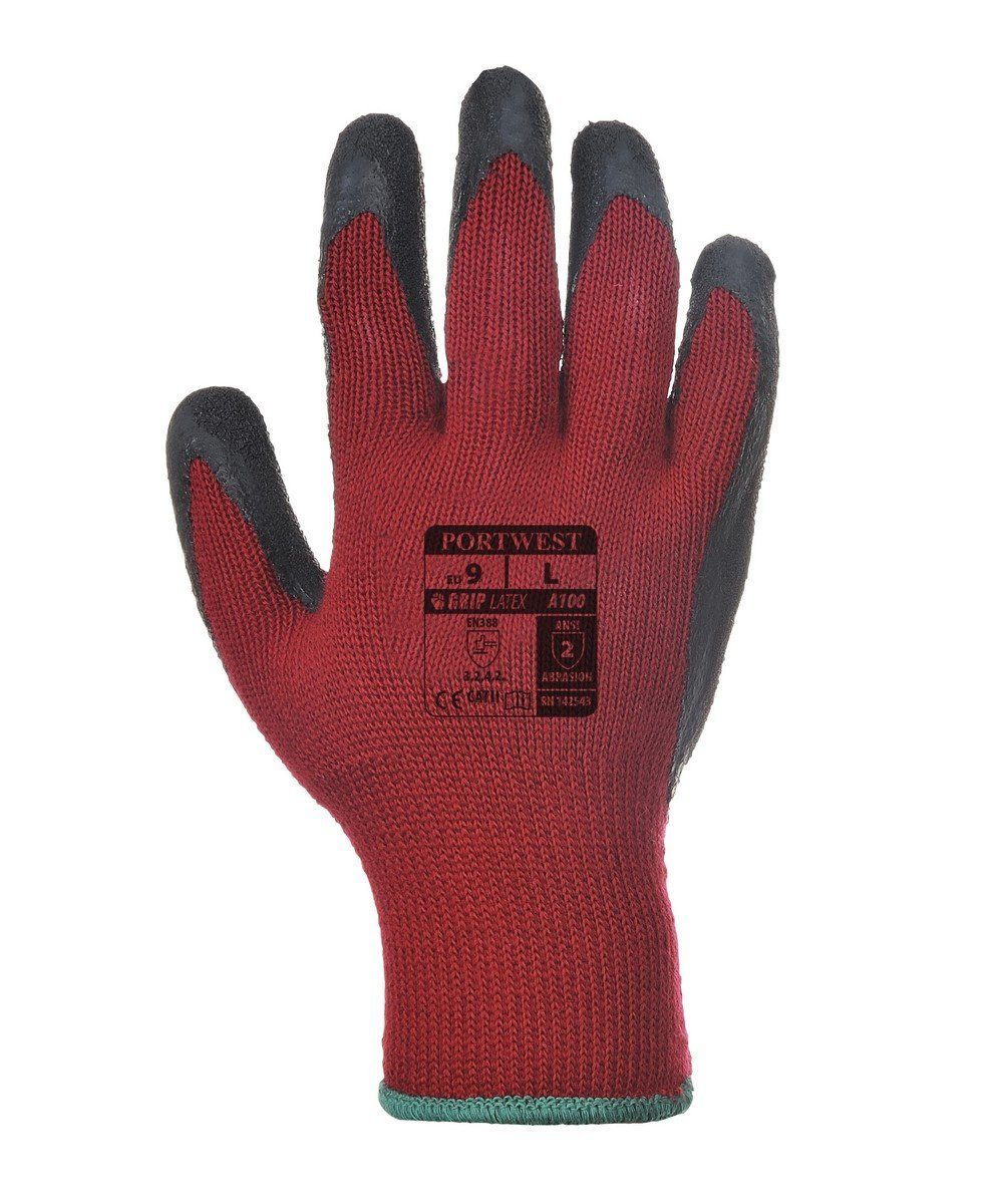 PPG Workwear Portwest Grip Glove A100 Red and Black Colour Back View