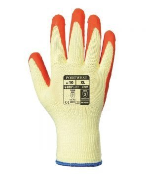 Portwest Grip Glove with Merchandise Bag A109 Orange and Yellow Colour Back View
